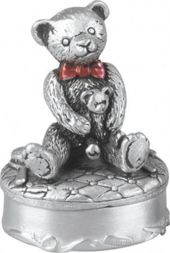 Pewter Teddy-Bear First Tooth Box Christening Gift